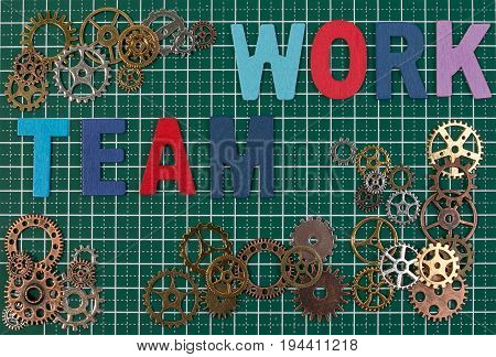 Business Tools And Business Success Concept. Metal Gears On Cutting Board Mat Background With Word T