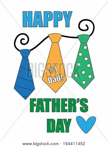 Happy Fathers Day  Lettering and Ties Hanging