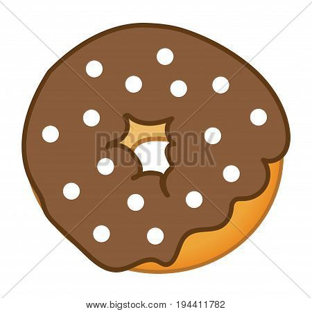 Yummy Chocolate Donut Food on White Background