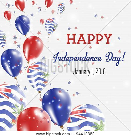 British Indian Ocean Territory Independence Day Greeting Card. Flying Balloons In British Indian Oce