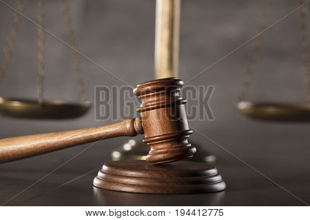 Law symbols, gavel. Law concept background. Place for text.
