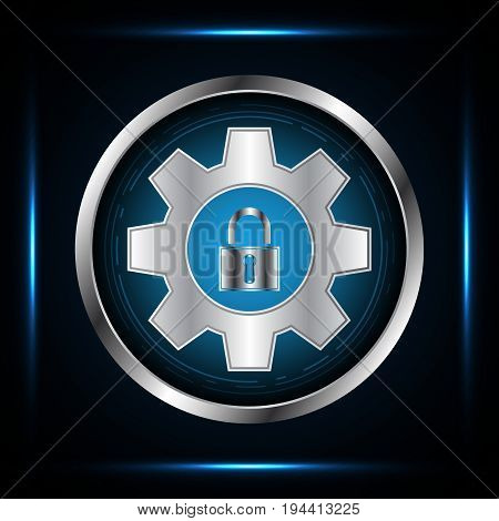 Technology Digital Cyber Security Lock Gear Circle Background
