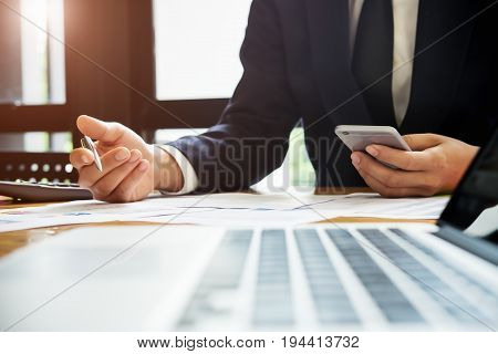 Business Man Meeting With Digital Tablet Computer Analyze Financial Graph In The Conference.business