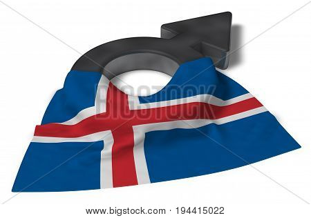 male symbol and flag of iceland - 3d rendering