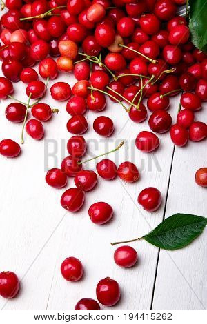 Scattered Cherry From Basket. Cherries In Basket On White Background. Healthy, Summer Fruit. Cherrie