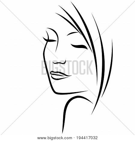 Attractive dreamy abstract pretty young lady with his eyes closed vector black outline