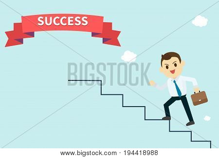 businessman wear white shirt and he run up stairs to success red ribbon employee climbs up the stairsvector illustrationbusiness concept growth and the path to success