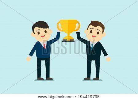 Business men wear suite show up Trophy cup. Teamwork Business and reward concept. flat design. vector illustration.