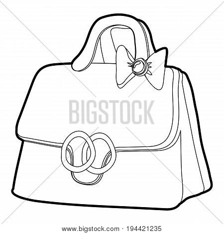 Lady handbag icon in outline style isolated on white background vector illustration