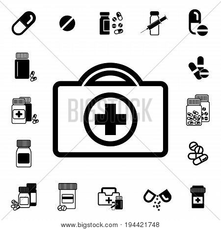 Doctors Bag with Cross or Medical SuitcaseIcon. Medicine Handbag Illustration. First Aid Kit Sign