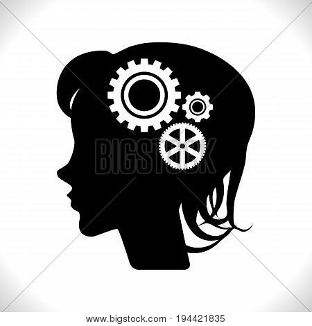 Gear In Head Pictograph