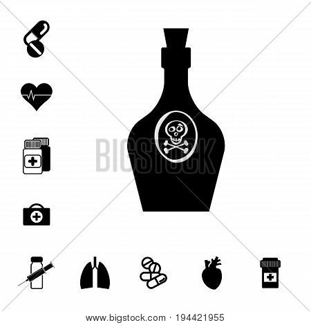 Bottle with Poison and Pill or DrugIcon Set Isolated. Pharmacy Symbols Collection