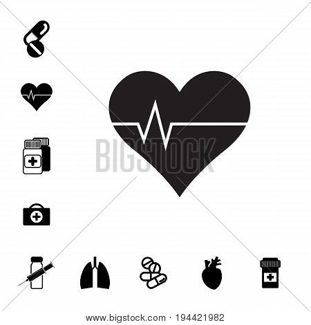 Heart and Pill or DrugIcon Set Isolated. Pharmacy Symbols Collection