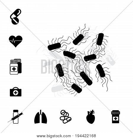 Bacteria or Bacilli Icon. Pill or DrugSet Isolated. Pharmacy Symbols Collection