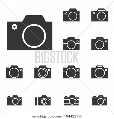 Set of Photo Camera Icon or Snapshot Sign Isolated. Digital PhotographyCollection for Web Design Advertising Printing