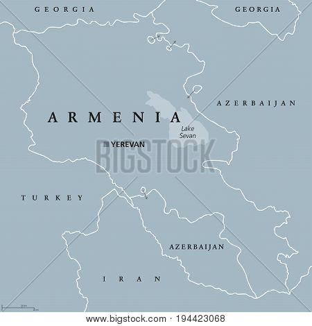 Armenia political map with capital Yerevan. Republic and sovereign state and in South Caucasus and Middle East region. Gray illustration isolated on white background. English labeling. Vector.