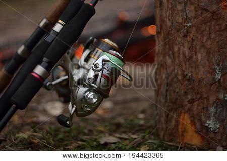 Moscow - September, 2016: fishing on spinning, equipment spinning reel for fishing predator