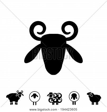 Sheep Or Ram Icon, , Template, Pictogram