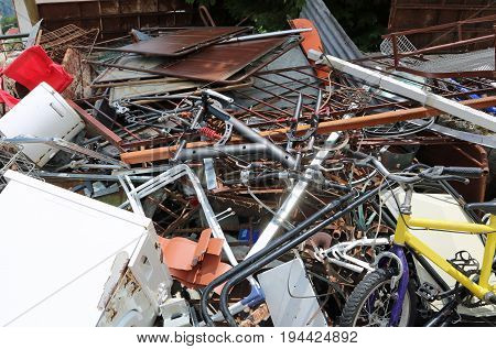 Dump Of Ferrous Material With Many Rusty And Unusable Objects