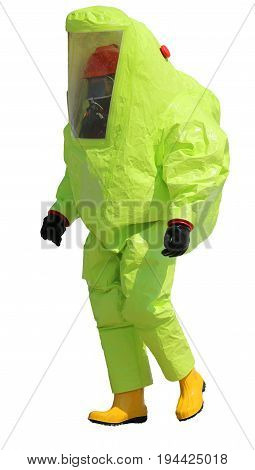 Firefighter With Protective Suit Against Chemical And Bacteriolo