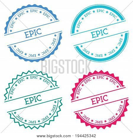 Epic Badge Isolated On White Background. Flat Style Round Label With Text. Circular Emblem Vector Il