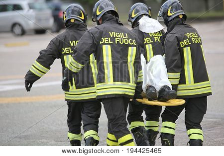 Italian Firefighter Team Uniform With Firefighters Text While He