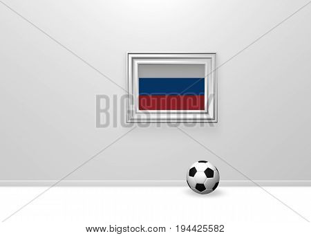 soccer ball and flag of russia in picture frame - 3d rendering