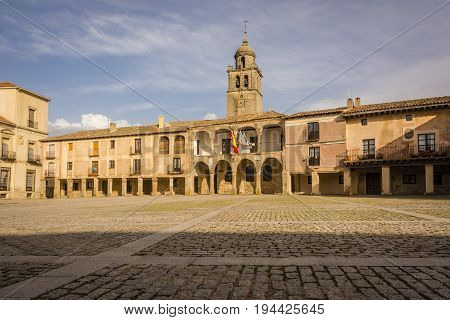 Medinaceli is an ancient and historic town in the province of Soria, in Castile and Leon, Spain. View of the Plaza Mayor.
