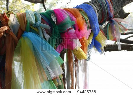Colorful Thai flower garlands. For local religious ceremony worship. Put worship local forest Ghost.
