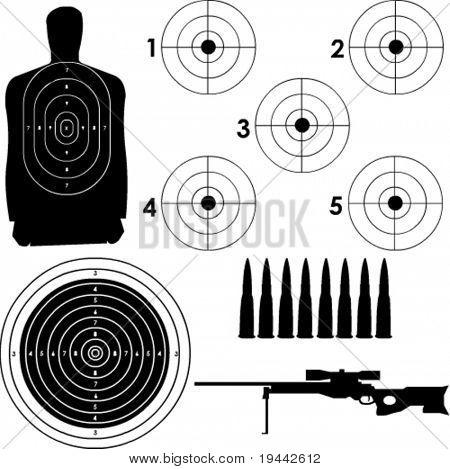 Alvos diferentes em formato vetorial com o rifle sniper e balas.
