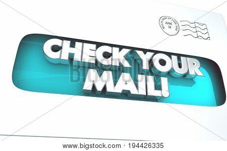 Check Your Mail Envelope Inbox Message Letter 3d Illustration