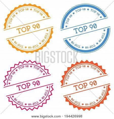 Top 90 Badge Isolated On White Background. Flat Style Round Label With Text. Circular Emblem Vector
