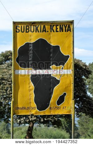 The Equator crossing in Kenya in Africa