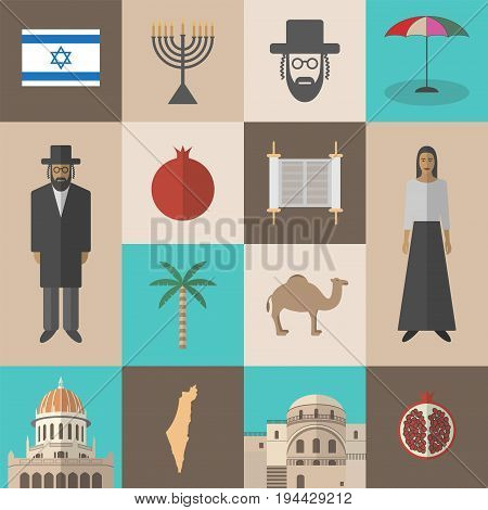 Israel travel. Vector sign for web graphic