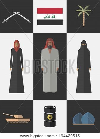 Iraq. Flat icons travel set. Vector sign for web graphic