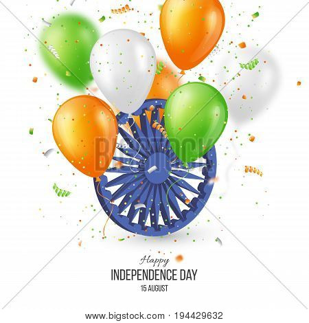Indian Independence day holiday background. 3d wheel with blur balloons and confetti in traditional tricolor of indian flag. Vector illustration.