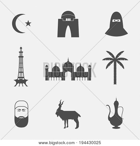 Pakistan. Icons travel set. Vector sign for web graphic