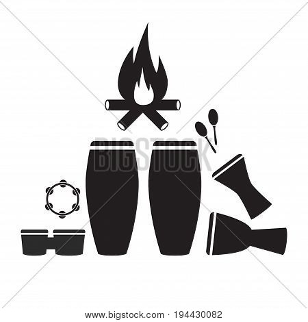 Percussion instruments Icon set. Vector sign for web graphic