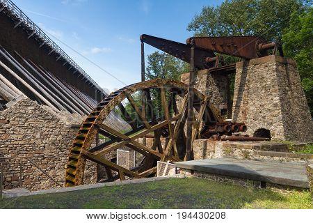 Ancient water wheel at the spa of Bad Nauheim Hesse Germany