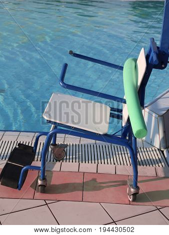 Wheelchair To Enter The Swimming Pool For Rehabilitative Gymnast