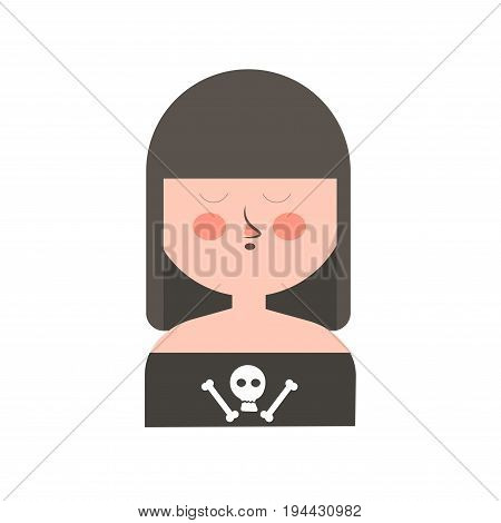Gothic girl with dark hair, long forelock, closed eyes, round head and skull and bones on black shirt isolated vector illustration on white background. Informal funny female character portrait.