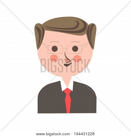 Man in square eyeglasses, dark shirt and bright red tie with retro hairstyle, red nose and pink cheeks isolated vector illustration on white background. Male cartoon character funny portrait.