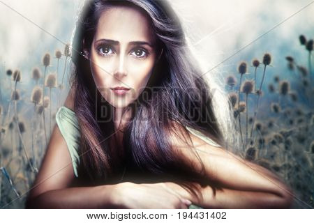 young beautiful woman portrait in anime style composite photo