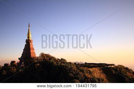 Phramahathat Napamathanidol and Phramahathat Napaphol Bhumisiri Stupa. Bhddhist Stupa on the top of Doi Inthanon Mountain, Chaingmai, Thailand