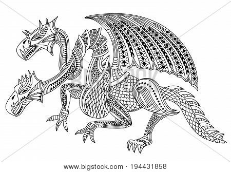 Beautiful two headed dragon. Zentangle and doodle style. Coloring book or tattoo. Vector illustration.