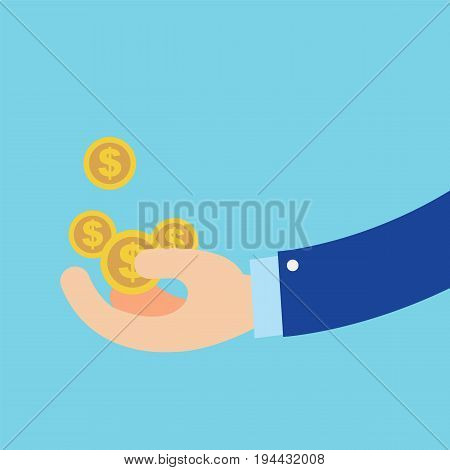 Flat Hand earn coins symbol about business with isolated blue background