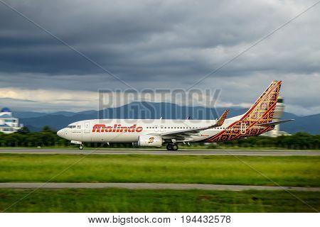 Kota Kinabalu,Sabah-June 17,2017:Malindo Air Boeing 737-800 landed at Kota Kinabalu International Airport Sabah.Malindo Airways is a Malaysian airline with headquarters in Petaling Jaya,Selangor, Malaysia