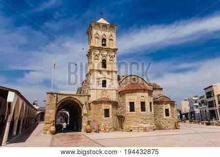 Larnaca Cyprus - May 29 2014: View on The Orthodox church of Saint Lazarus in Larnaca
