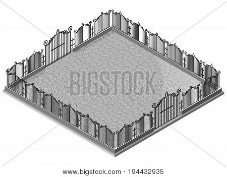 Decorative iron fence and gate on stone pavement. 3D isometric view. Vector illustration.