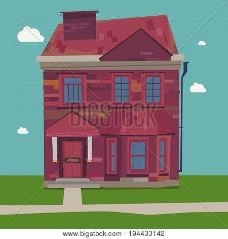 Two Story House Europe style at home in settings vacation destinations and small town streets with sky background
